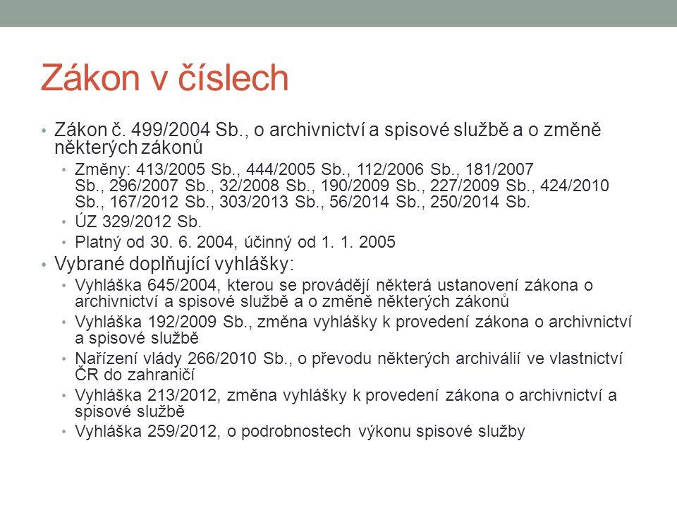 Zákon v číslech Zákon č. 499/2004 Sb., o archivnictví a spisové službě a o změně některých zákonů.