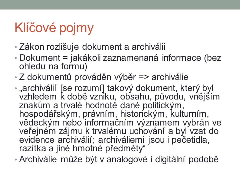 Klíčové pojmy Zákon rozlišuje dokument a archiválii