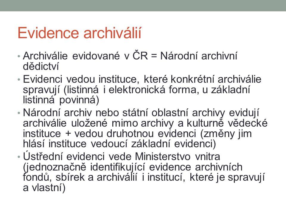 Evidence archiválií Archiválie evidované v ČR = Národní archivní dědictví.