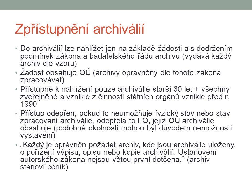 Zpřístupnění archiválií
