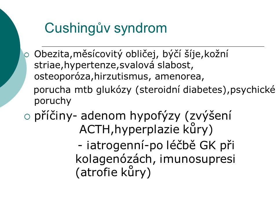 Cushingův syndrom Obezita,měsícovitý obličej, býčí šíje,kožní striae,hypertenze,svalová slabost, osteoporóza,hirzutismus, amenorea,