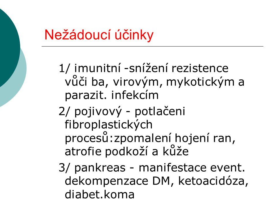 Nežádoucí účinky 1/ imunitní -snížení rezistence vůči ba, virovým, mykotickým a parazit. infekcím.