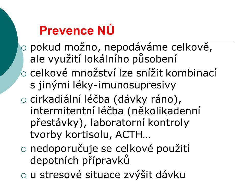 Prevence NÚ pokud možno, nepodáváme celkově, ale využití lokálního působení. celkové množství lze snížit kombinací s jinými léky-imunosupresivy.
