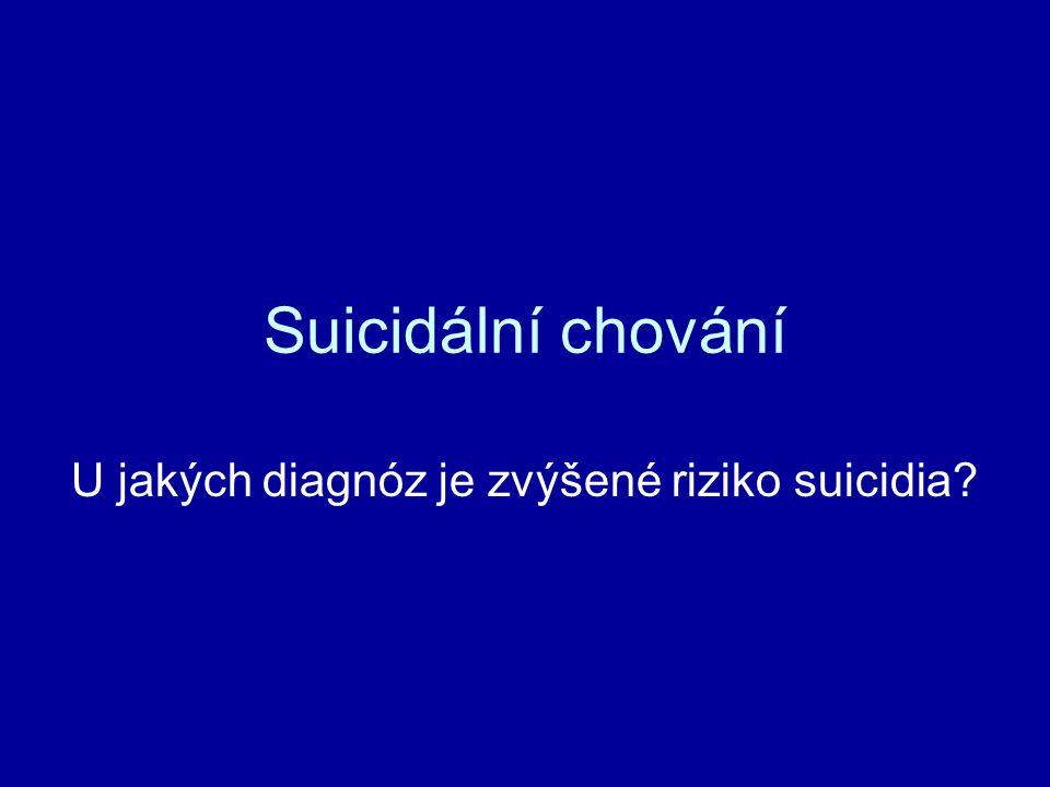 U jakých diagnóz je zvýšené riziko suicidia