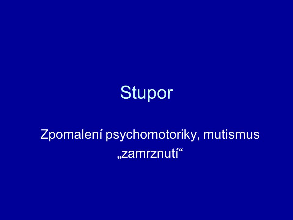 """Zpomalení psychomotoriky, mutismus """"zamrznutí"""