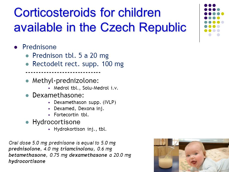 Corticosteroids for children available in the Czech Republic