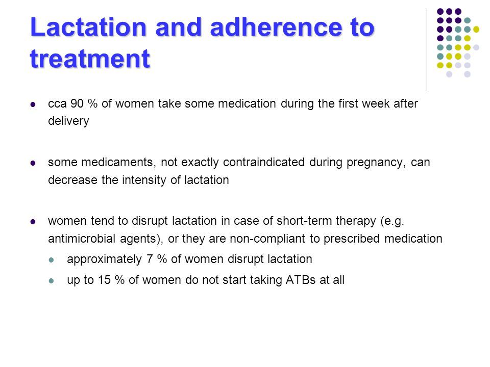 Lactation and adherence to treatment