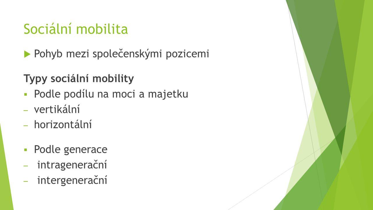 Sociální mobilita Pohyb mezi společenskými pozicemi