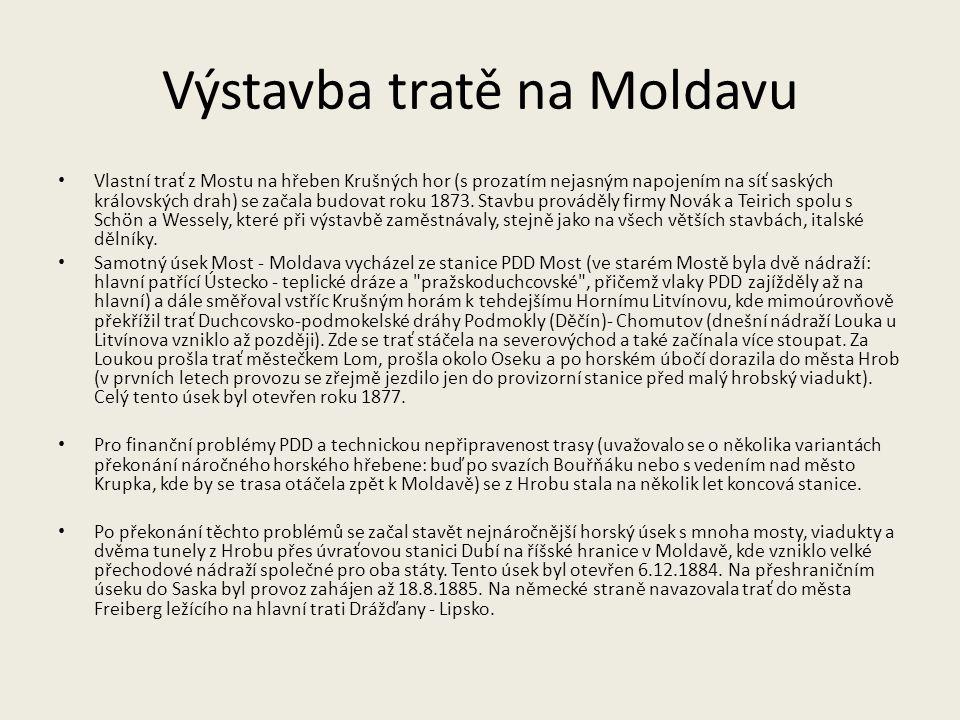 Výstavba tratě na Moldavu
