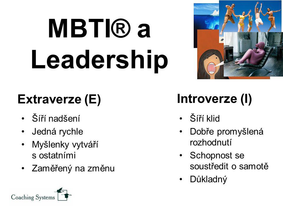 MBTI® a Leadership Extraverze (E) Introverze (I) Šíří nadšení