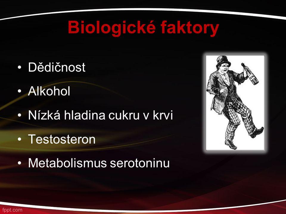 Biologické faktory Dědičnost Alkohol Nízká hladina cukru v krvi
