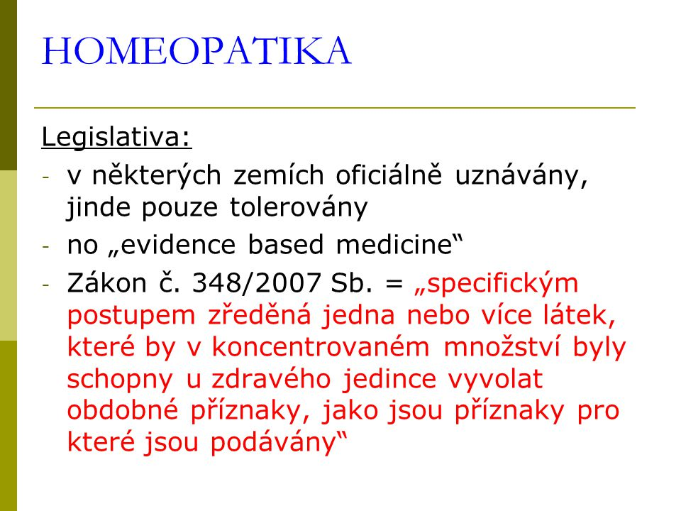 HOMEOPATIKA Legislativa: