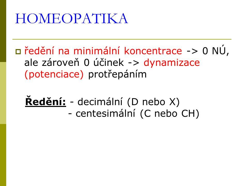 HOMEOPATIKA ředění na minimální koncentrace -> 0 NÚ, ale zároveň 0 účinek -> dynamizace (potenciace) protřepáním.