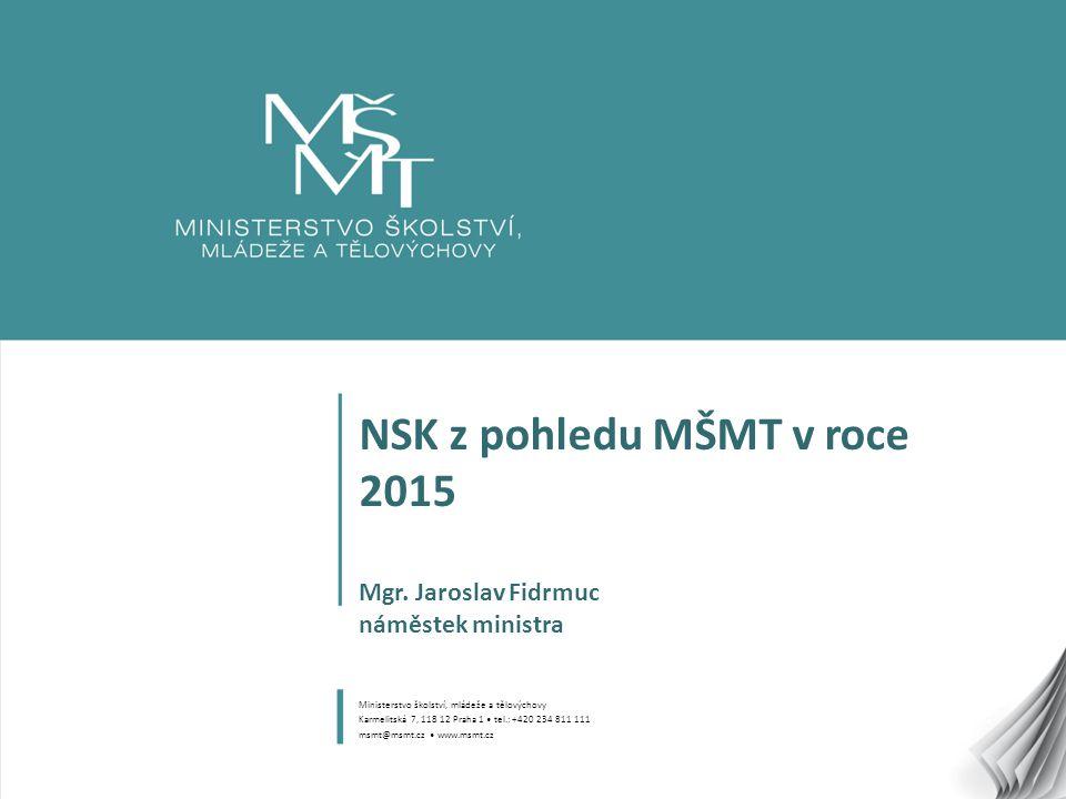 NSK z pohledu MŠMT v roce 2015 Mgr. Jaroslav Fidrmuc náměstek ministra
