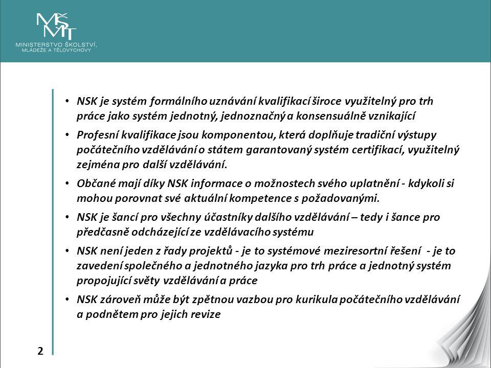 NSK je systém formálního uznávání kvalifikací široce využitelný pro trh práce jako systém jednotný, jednoznačný a konsensuálně vznikající