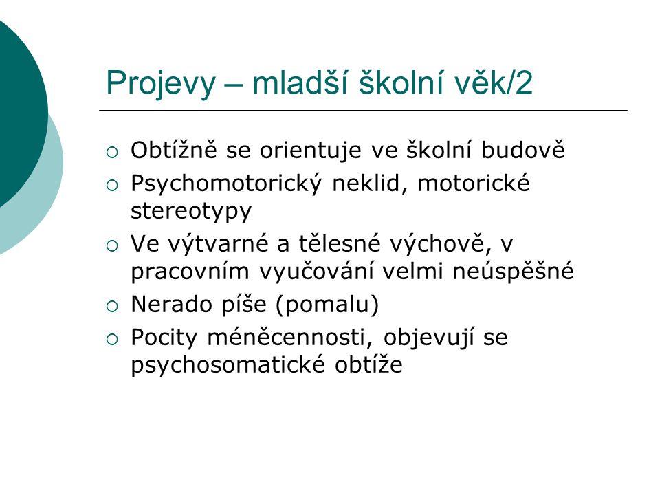 Projevy – mladší školní věk/2