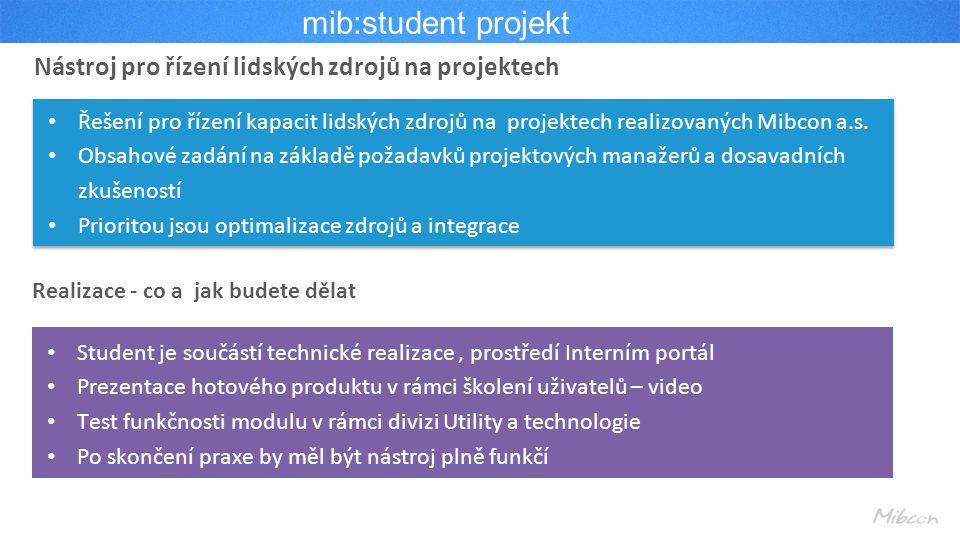 mib:student projekt Nástroj pro řízení lidských zdrojů na projektech