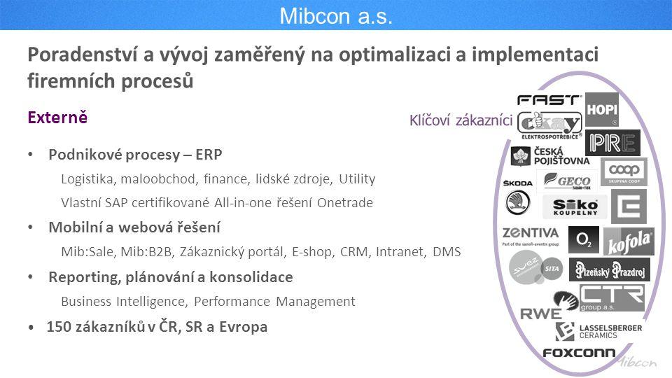 Mibcon a.s. Poradenství a vývoj zaměřený na optimalizaci a implementaci firemních procesů. Externě.