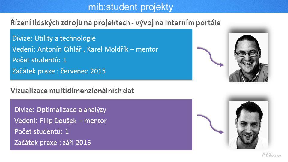 mib:student projekty Řízení lidských zdrojů na projektech - vývoj na Interním portále. Divize: Utility a technologie.