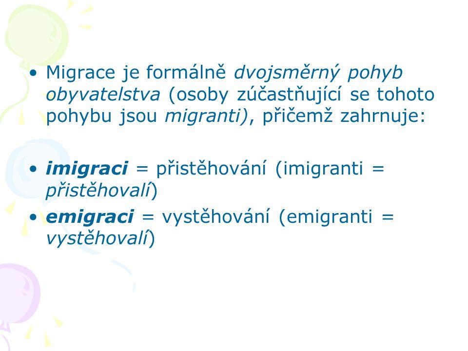 Migrace je formálně dvojsměrný pohyb obyvatelstva (osoby zúčastňující se tohoto pohybu jsou migranti), přičemž zahrnuje: