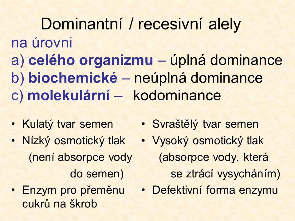 Dominantní / recesivní alely na úrovni a) celého organizmu – úplná dominance b) biochemické – neúplná dominance c) molekulární – kodominance
