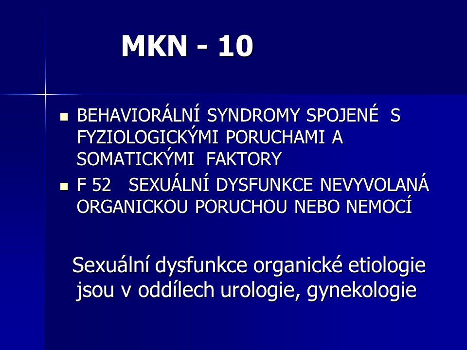 MKN - 10 BEHAVIORÁLNÍ SYNDROMY SPOJENÉ S FYZIOLOGICKÝMI PORUCHAMI A SOMATICKÝMI FAKTORY.