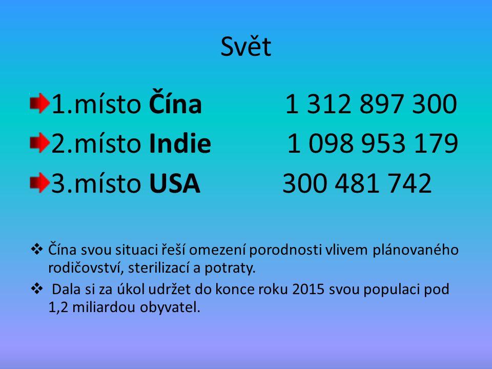Svět 1.místo Čína 1 312 897 300 2.místo Indie 1 098 953 179