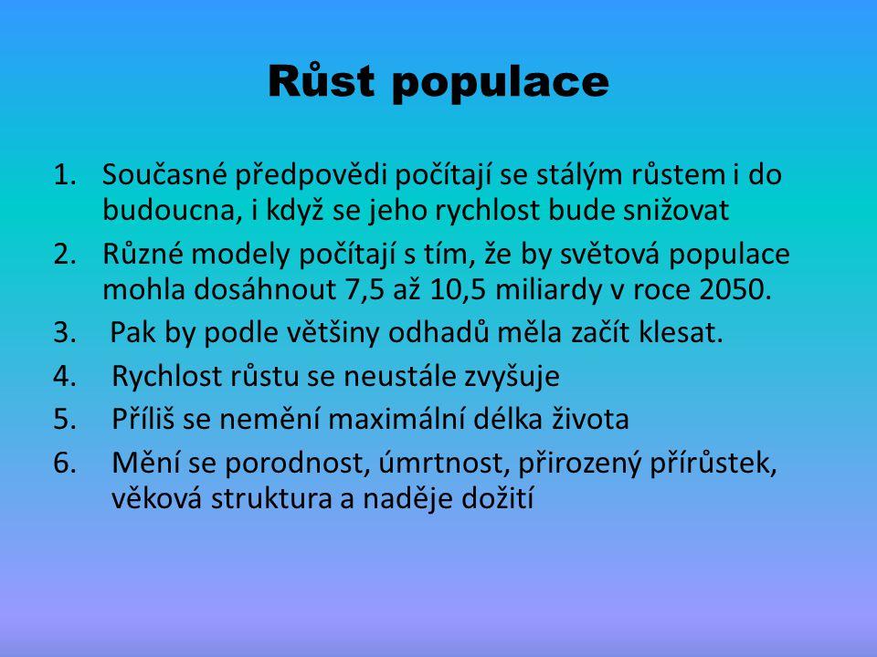 Růst populace Současné předpovědi počítají se stálým růstem i do budoucna, i když se jeho rychlost bude snižovat.