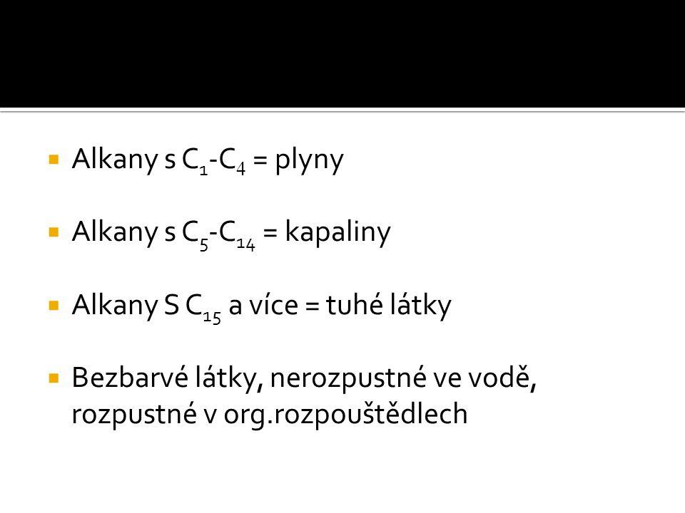 Alkany s C1-C4 = plyny Alkany s C5-C14 = kapaliny. Alkany S C15 a více = tuhé látky.