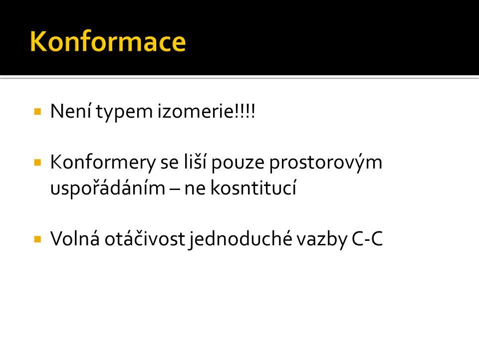 Konformace Není typem izomerie!!!!