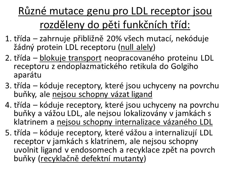 Různé mutace genu pro LDL receptor jsou rozděleny do pěti funkčních tříd: