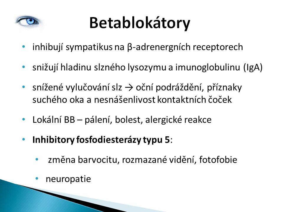 Betablokátory inhibují sympatikus na β-adrenergních receptorech