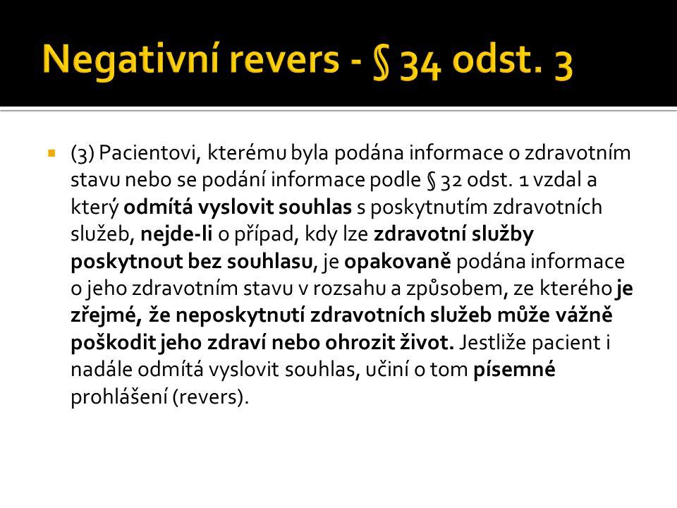 Negativní revers - § 34 odst. 3