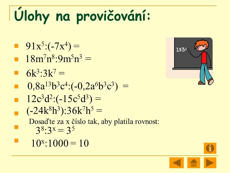Dosaďte za x číslo tak, aby platila rovnost: