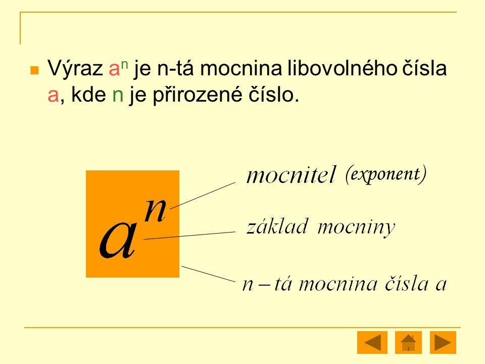 Výraz an je n-tá mocnina libovolného čísla a, kde n je přirozené číslo.
