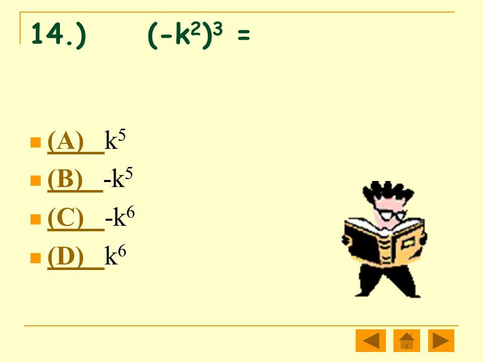 14.) (-k2)3 = (A) k5 (B) -k5 (C) -k6 (D) k6