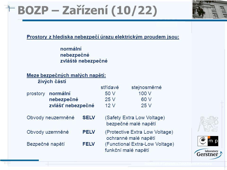 BOZP – Zařízení (10/22) 25/11/08. Prostory z hlediska nebezpečí úrazu elektrickým proudem jsou: normální.