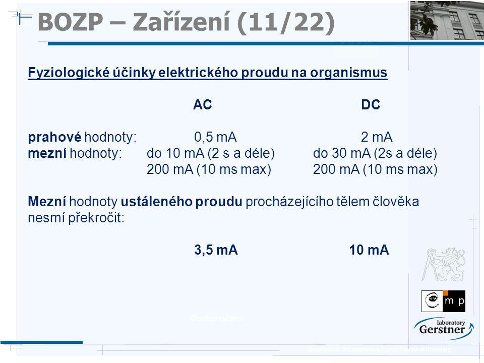 BOZP – Zařízení (11/22) 25/11/08. Fyziologické účinky elektrického proudu na organismus. AC DC.
