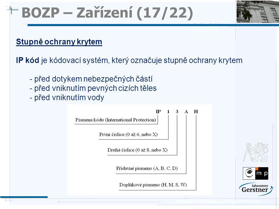 BOZP – Zařízení (17/22) Stupně ochrany krytem
