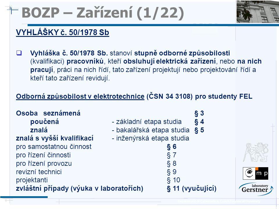 BOZP – Zařízení (1/22) VYHLÁŠKY č. 50/1978 Sb