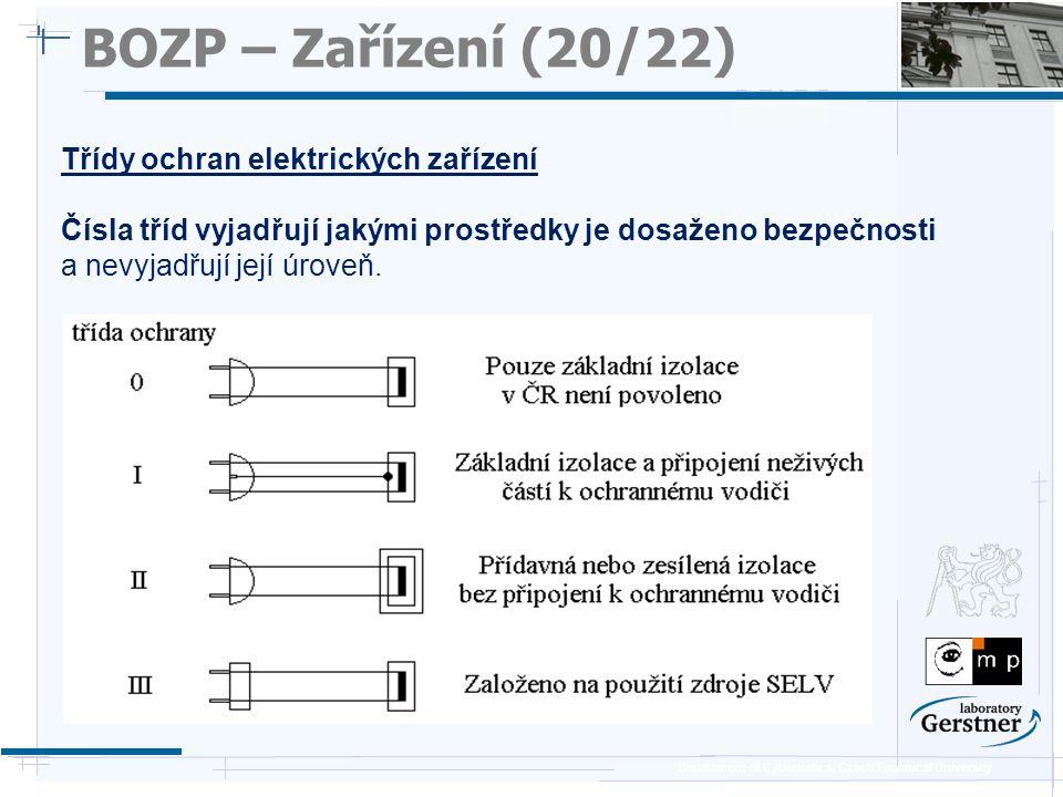 BOZP – Zařízení (20/22) Třídy ochran elektrických zařízení