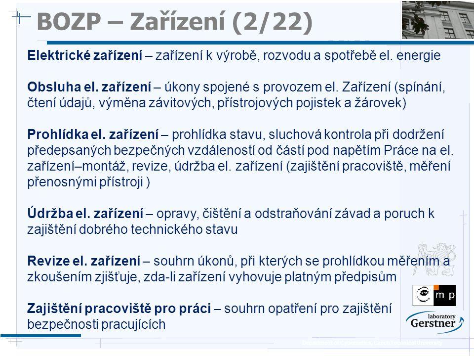 BOZP – Zařízení (2/22) 25/11/08. Elektrické zařízení – zařízení k výrobě, rozvodu a spotřebě el. energie.