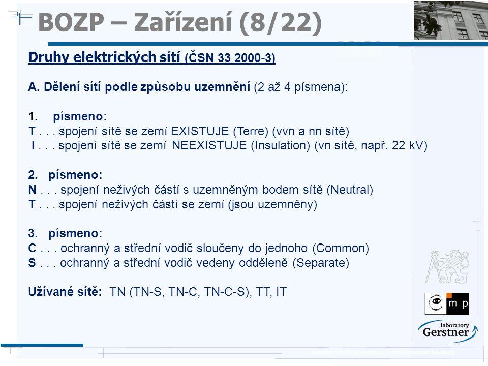 BOZP – Zařízení (8/22) Druhy elektrických sítí (ČSN 33 2000-3)