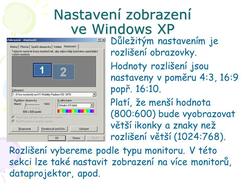 Nastavení zobrazení ve Windows XP