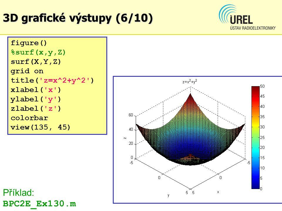 3D grafické výstupy (6/10) Příklad: BPC2E_Ex130.m figure()