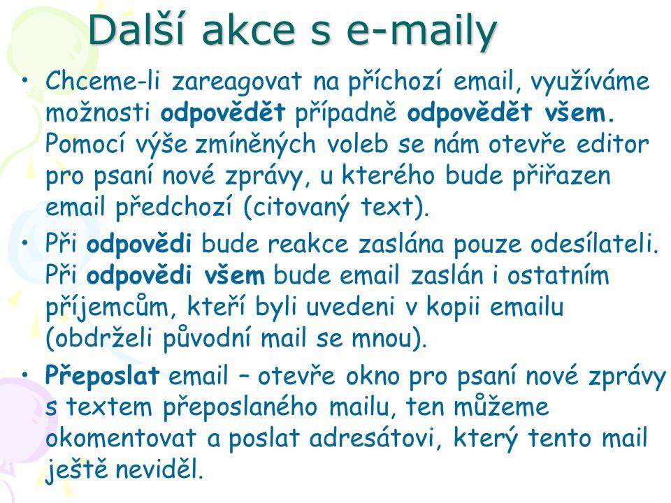 Další akce s e-maily