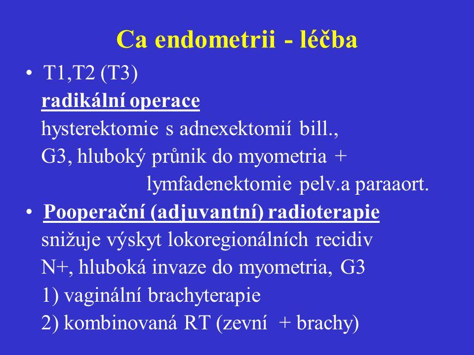 Ca endometrii - léčba T1,T2 (T3) radikální operace