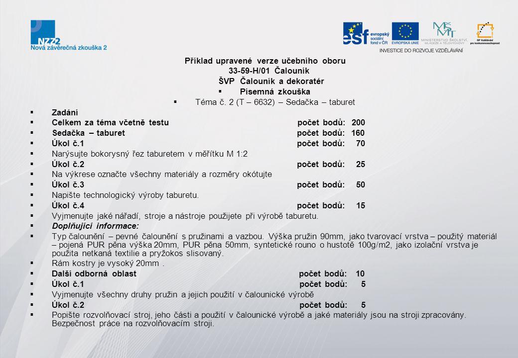 Příklad upravené verze učebního oboru ŠVP Čalouník a dekoratér