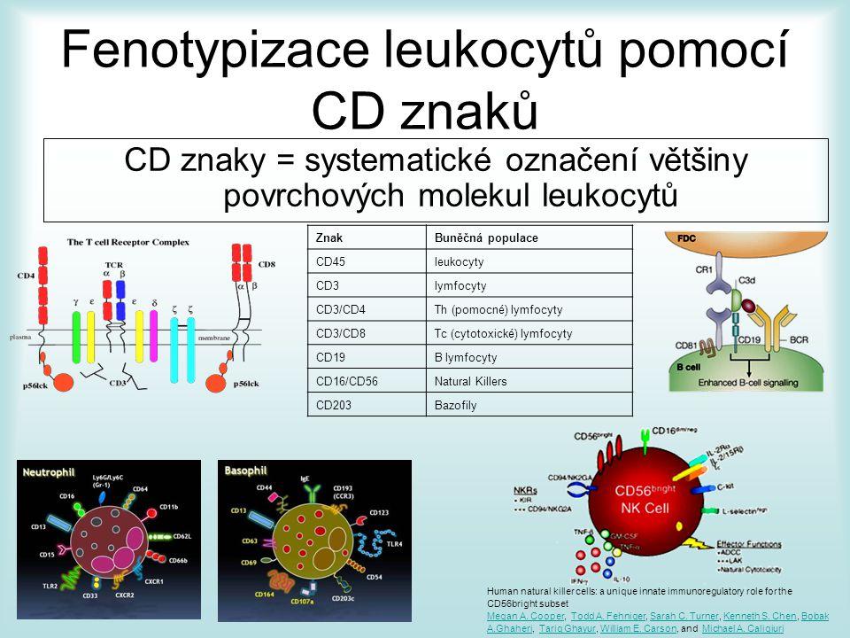 Fenotypizace leukocytů pomocí CD znaků