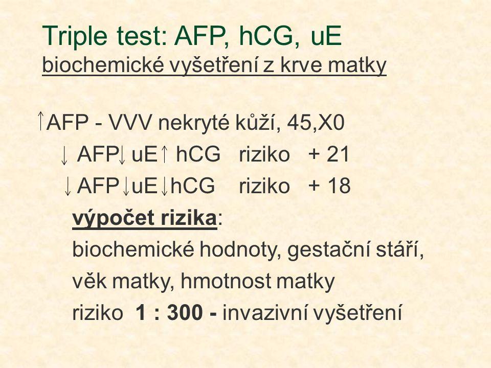 Triple test: AFP, hCG, uE biochemické vyšetření z krve matky
